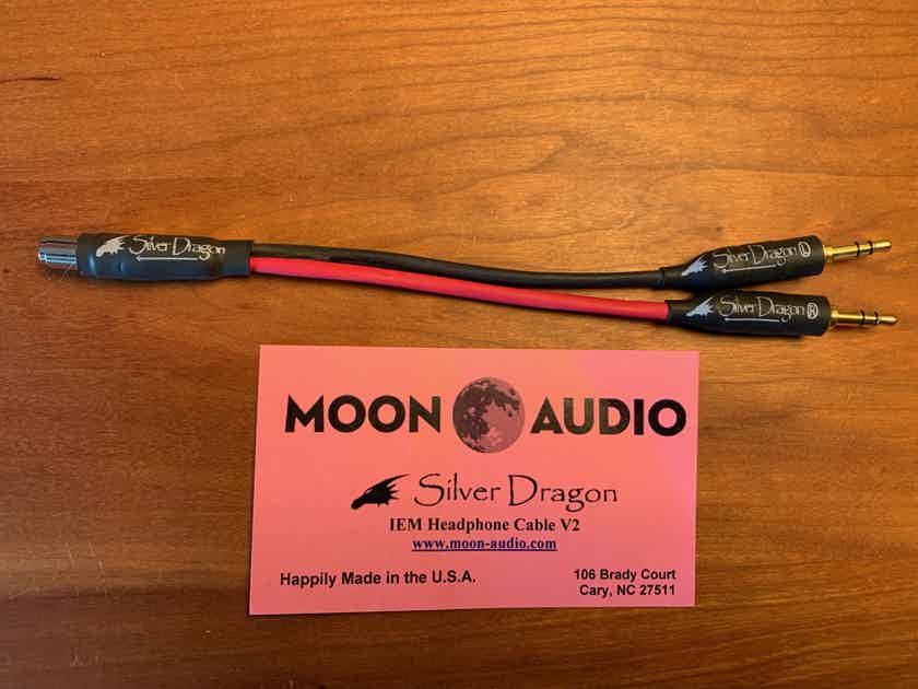 Moon Audio Silver Dragon Headphone Cable Adapter - single 2.5mm balanced AK jack > dual 3.5mm balanced plugs for Ayre Codex/Sony PHA-3/Pono DAC/Amp