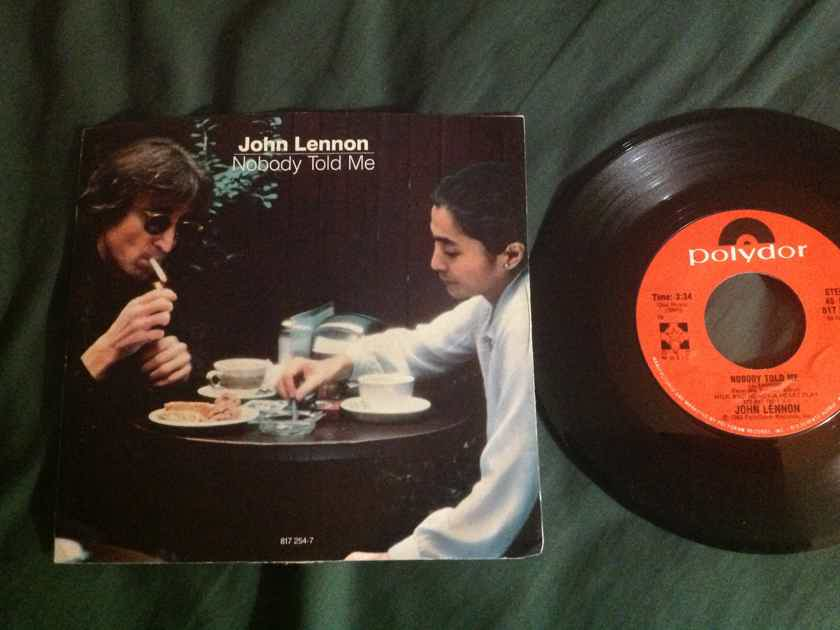 John Lennon/Yoko Ono - Nobody Told Me Polydor Records 45 Single With Picture  Sleeve Vinyl NM