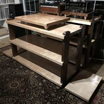 Custom Wood Racks & Stands 3 Shelf, Maple & Walnut
