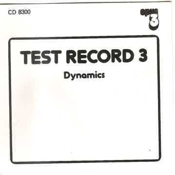 Opus 3 Number 8300 - Test Record 3 - Dynamics