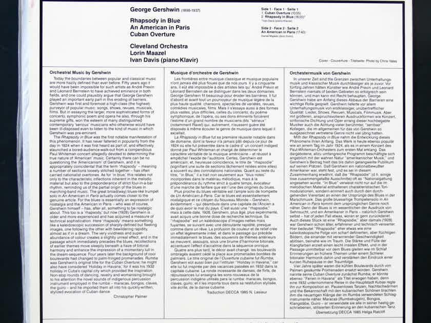 MFSL  LP     - - GERSHWIN   RHAPSODY IN BLUE - LORIN MAAZEL - CLEVELAND ORCHESTRA