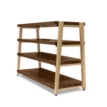 "Butcher Block Acoustics rigidrack™ 42"" X 18"" - 4 Shelf - Walnut Shelves - Maple Legs"