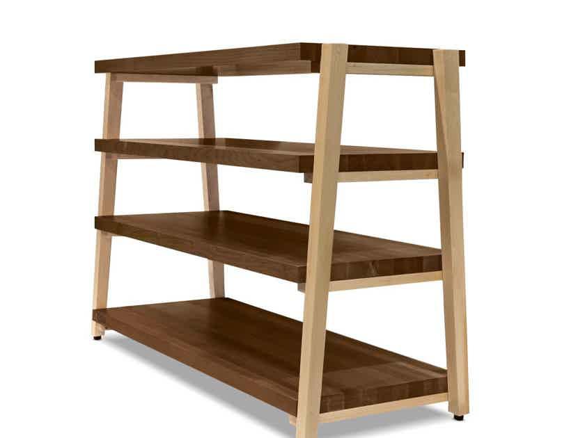 "Butcher Block Acoustics rigidrack™ 42"" X 18"" - 4 Shelf - Walnut Shelves - Maple Legs"