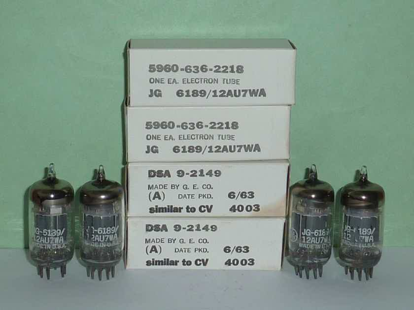 GE  12AU7WA 6189 5814A Tubes, Matched Quad, NOS/NIB, Matched Date Codes, Tested