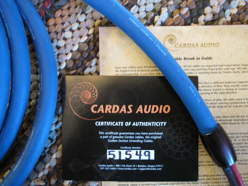 Cardas Clear Rev.1 2.5m Speaker Cables with Spades