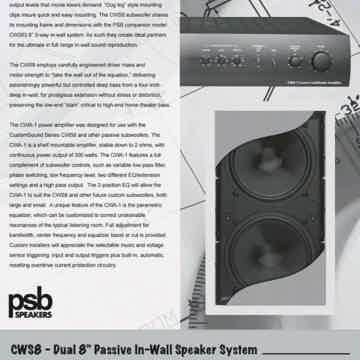 "PSB CWS8 CWA-1 2x Dual 8"" Subwoofers and matching Power..."