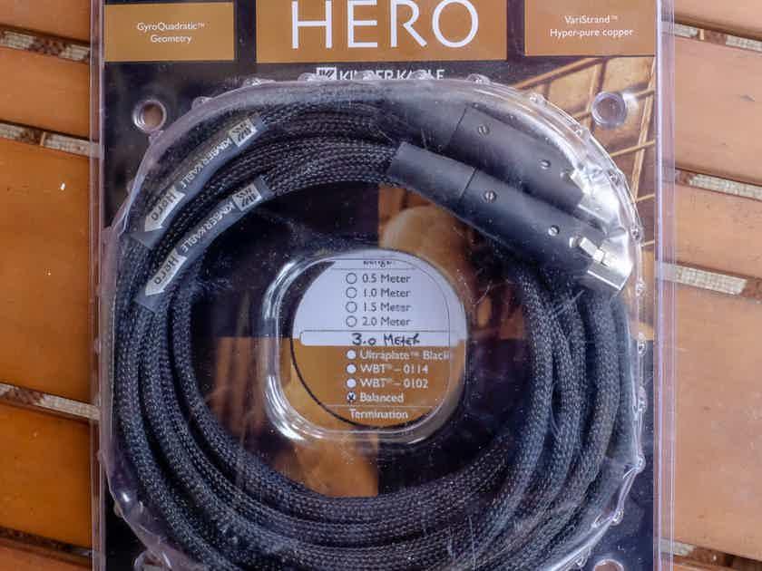 Kimber Kable Hero 3 meter pair balanced interconnects XLR-XLR