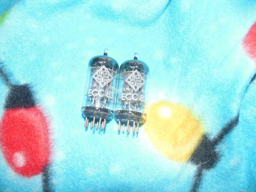 2 super nice perfect matched telefunken smooth plate 12ax7 tubes