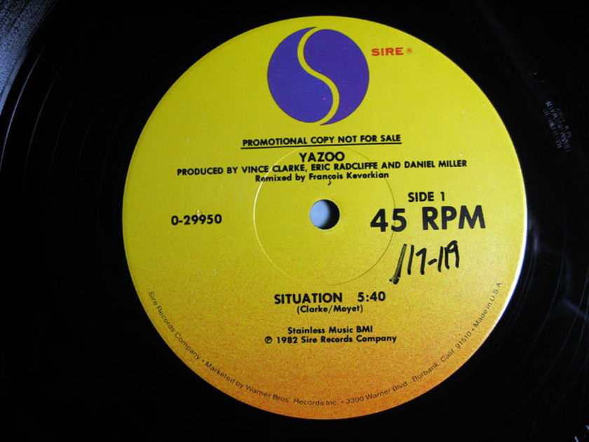 Yazoo Situation 45 Rpm 12 Inch Promo Copy 1982 Sire