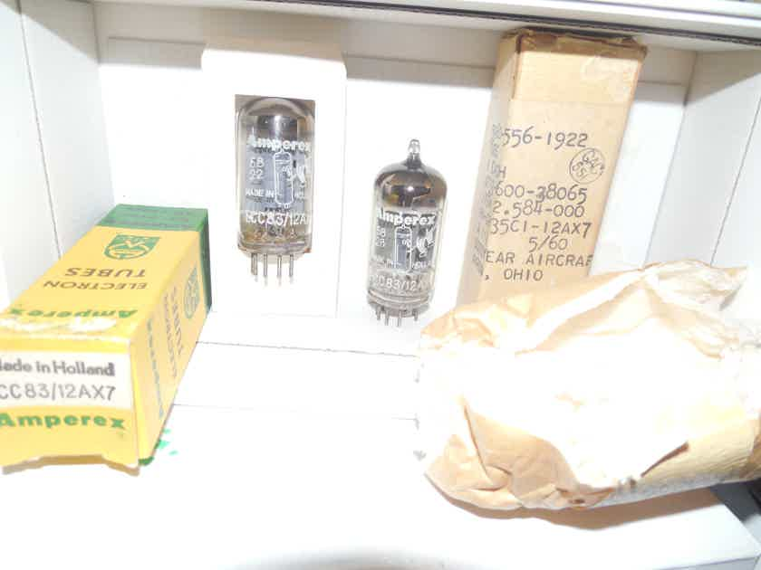 2 rare new in the box 1958 amperex bugle boy  long plate foil D getter 12ax7 tubes