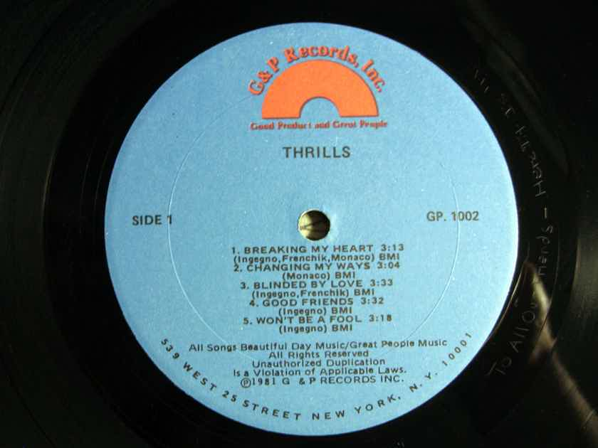 Thrills - First Thrills  - 1981  G & P Records Inc. GP 1002