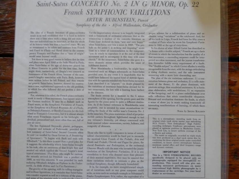 Wallenstein - Rubinstein: Symphony of the Air lsc2234 Classic Records original very rare reissue 180G 1990's Seale
