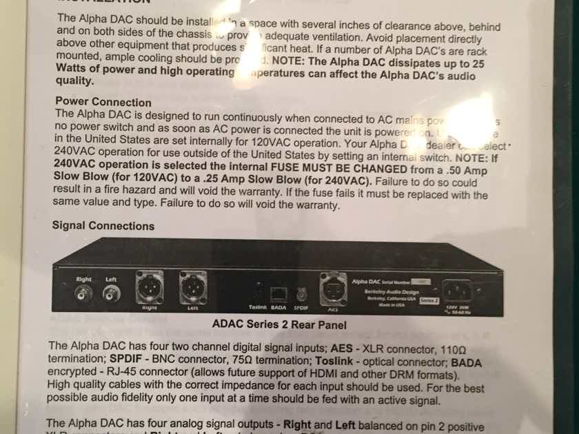 Berkeley Audio Design Alpha DAC series 2 - mint customer trade-in