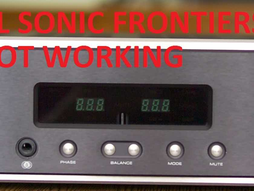 Audio Research, Sonic frontiers, Mcintosh not working all wanted