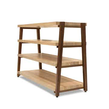 "Butcher Block Acoustics rigidrack™ 42"" X 18"" - 4 Shelf - Maple Shelves - Walnut Legs"