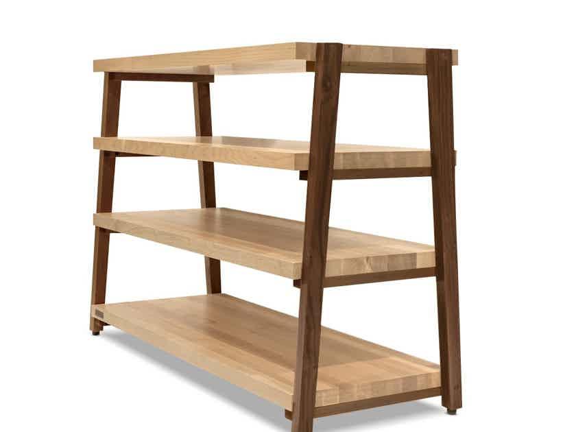"Butcher Block Acoustics rigidrack™ 42"" X 18"" - 4 Shelf - Maple Shelves - Walnut Legs"