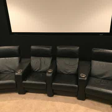 CinemaTech 4 Black Leather Theater Chairs Seats Manual ...