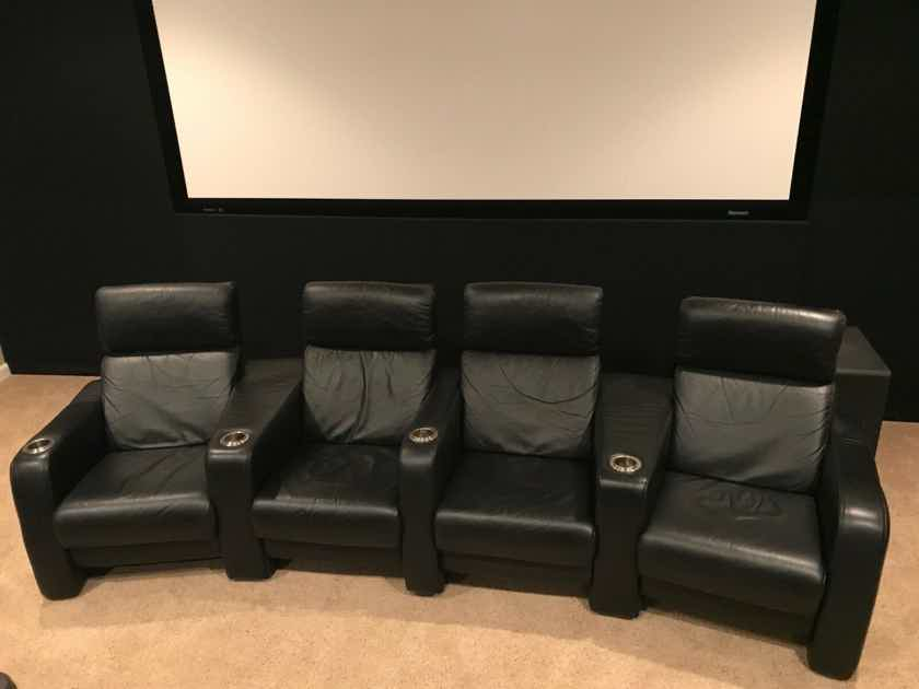 CinemaTech 4 Black Leather Theater Chairs Seats Manual Recliner Curved Row