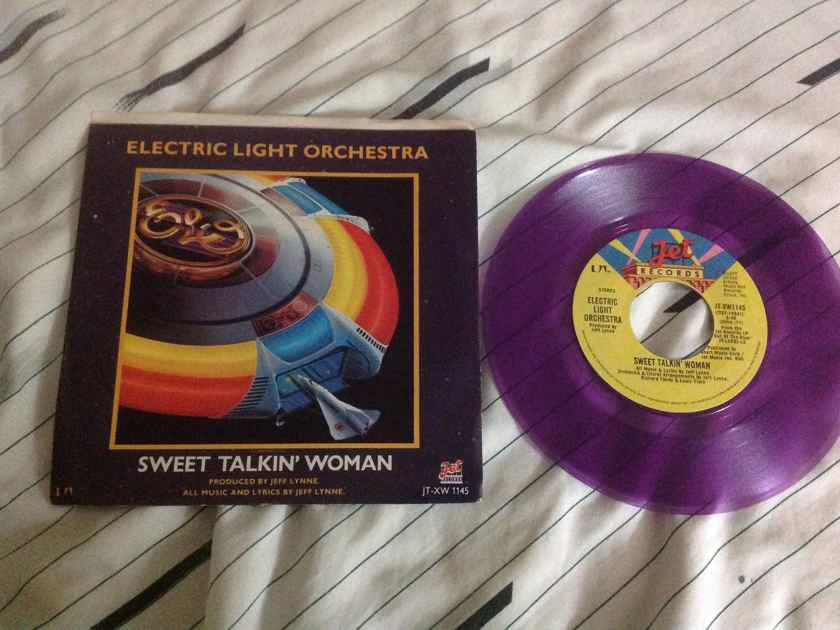ELO Sweet Talkin' Woman/Fire On High Purple Vinyl 45 With Picture Sleeve