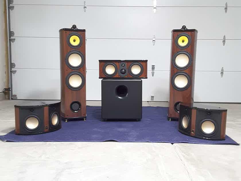 Swans Speaker Systems Diva 6.1, C3 (center), R3 (surrounds), Elemental Designs A2-300 (subwoofer)