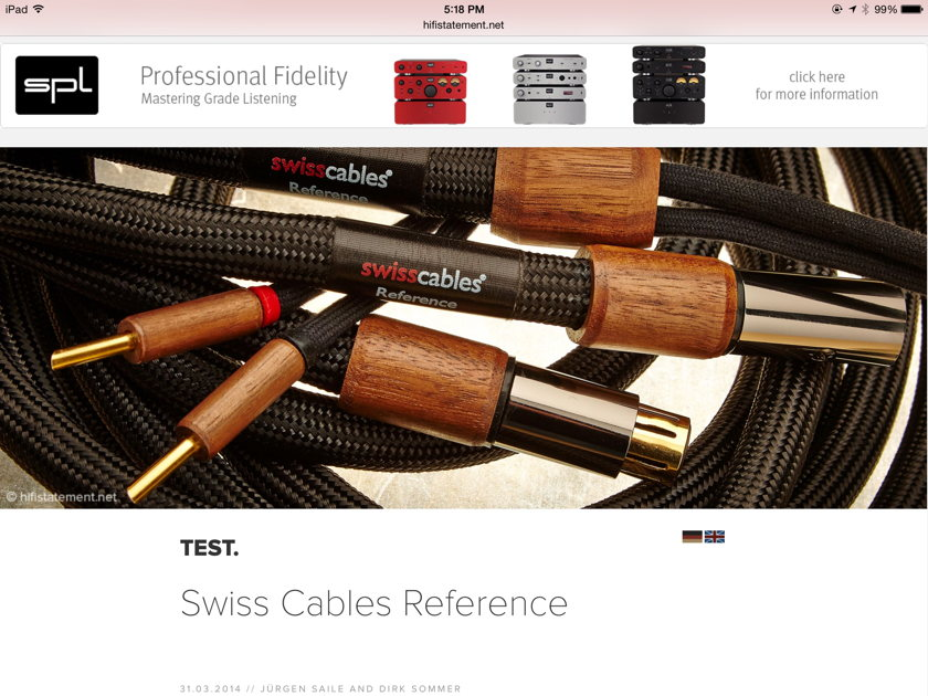 Swisscables Reference  Speaker cables 8 feet * From Switzerland *
