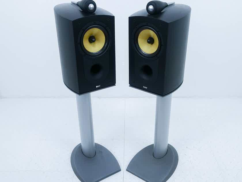 B&W Nautilus 805 Bookshelf Speakers Black Ash Pair w/ Stands (15003)