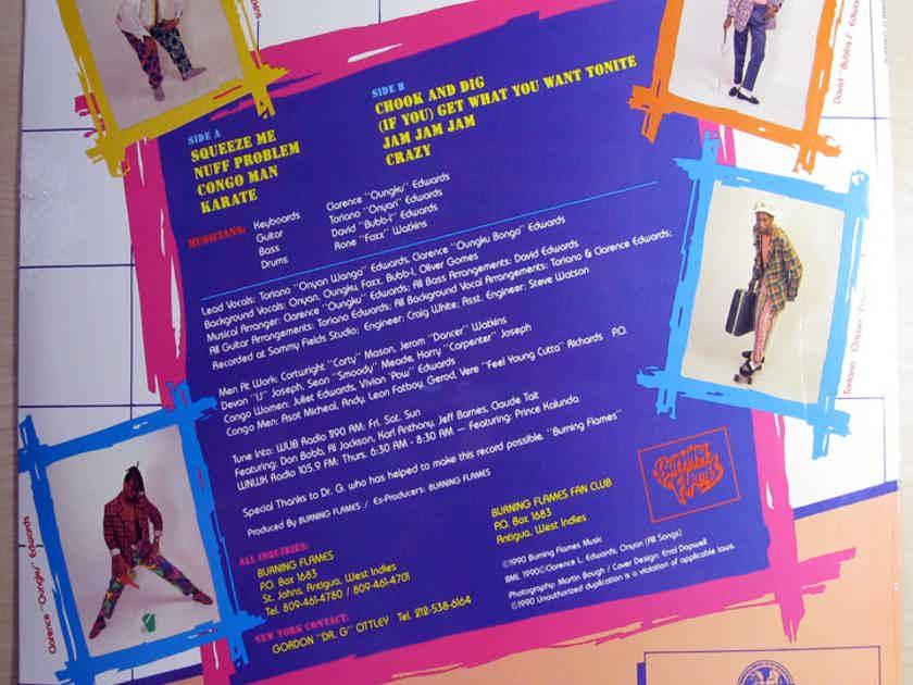 "Burning Flames - Mek ""E"" Bark  SEALED Vinyl LP Antigua & Barbuda Soca Reggae Dr.G Records 008"