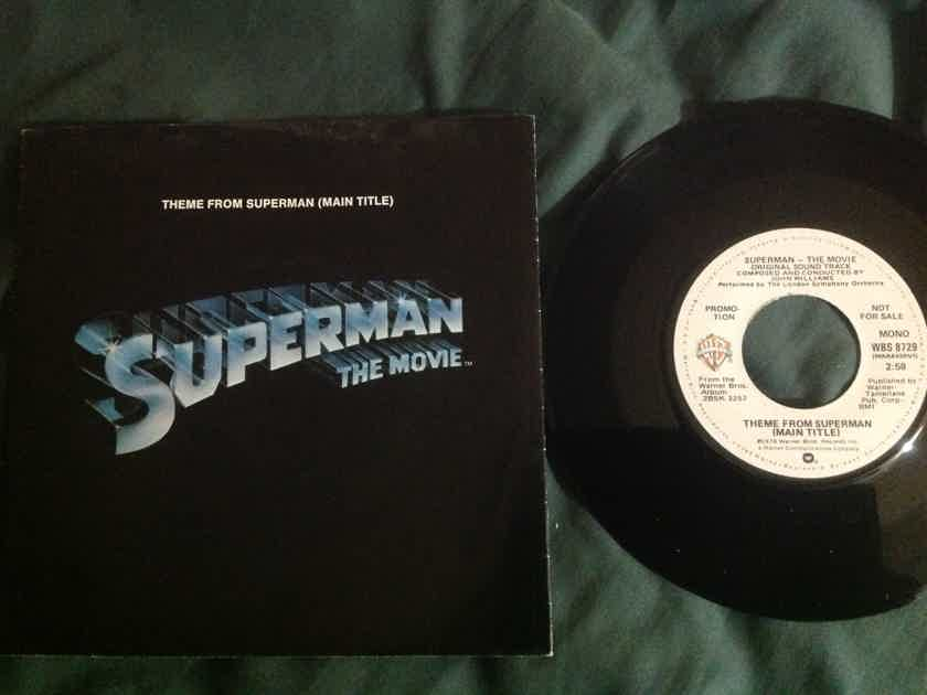 John  Williams - Theme From Superman Warner Brothers Records Promo Mono/Stereo 45 With Sleeve