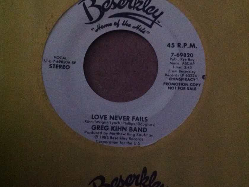 Greg Kihn Band - Love Never Fails Beserkley Records Promo 45 Single Vinyl NM