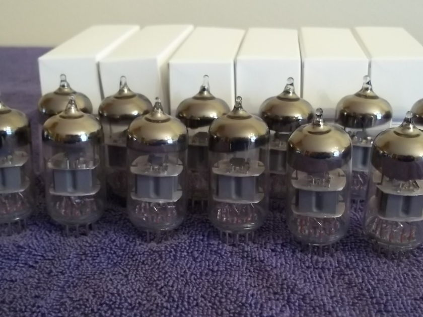 Audio Research SP-10 preamp tube set, 12 NOS tubes, smooth plates, Amplitrex tested and low noise