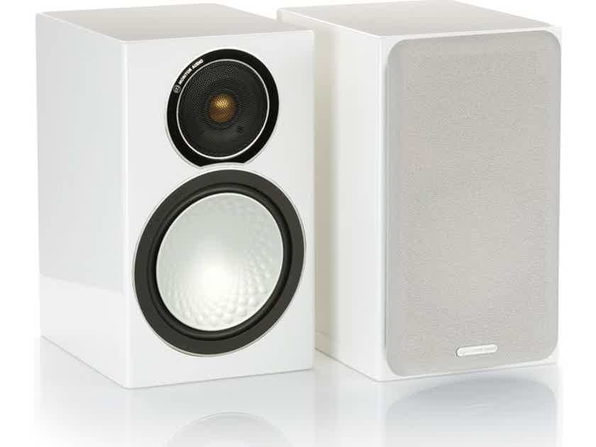 Monitor Audio  Silver 1 Bookshelf Speakers Gloss White NEW w Free Shipping