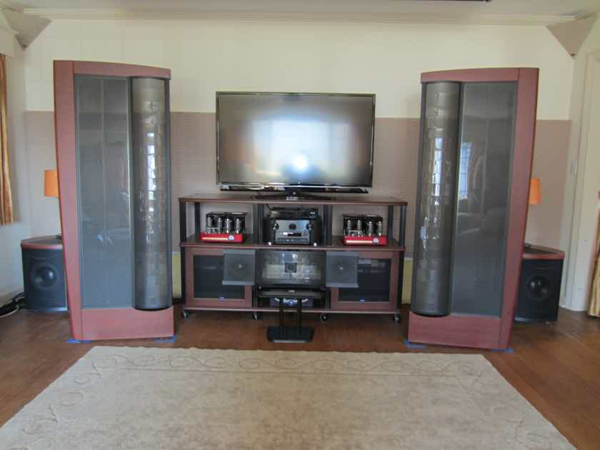 Martin Logan CLX Art Speakers Pair and 2 Descent i Subwoofers with CLX crossovers Dark Cherry