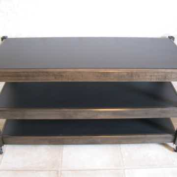 Audio Elegance Frontier Maple stand in a Ebony finish with custom rollers