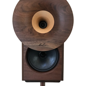 Solid walnut baffle and cabinets with Claro walnut and Ash-wood horns