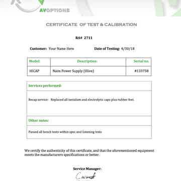 Naim Olive HICAP - AV Options recapped - Certificate