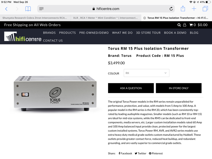 "TORUS POWER RM 15 PLUS ISOLATION TRANSFORMER ""EXCELLENT CONDITION """