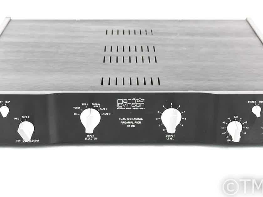Mark Levinson No. 26 Dual Mono Preamplifier; No 26; PLS-226 Power Supply (25644)