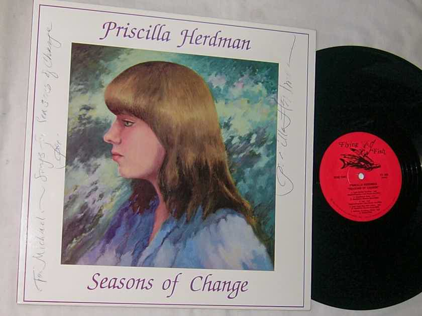 PRISCILLA HERDMAN -  - SEASONS OF CHANGE - RARE 1983 AUTOGRAPHED FOLK LP - FLYING FISH