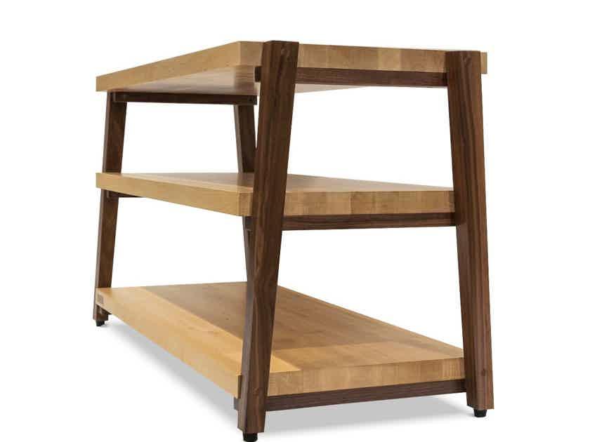 "Butcher Block Acoustics  rigidrack® 36"" X 18"" - 3 Shelf - Maple Shelves - Walnut Legs"
