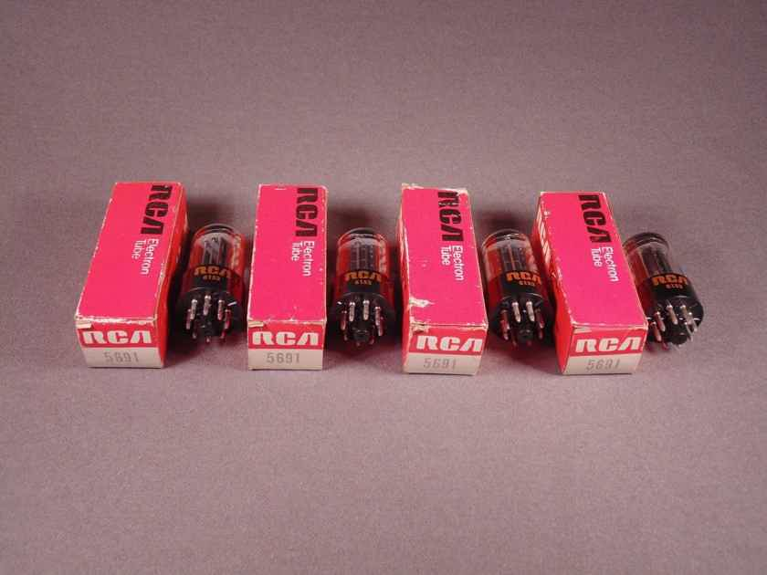 2 new in the box rca 3 mica black plate 5691 tubes/ 10000 hour 6SL7 tubes