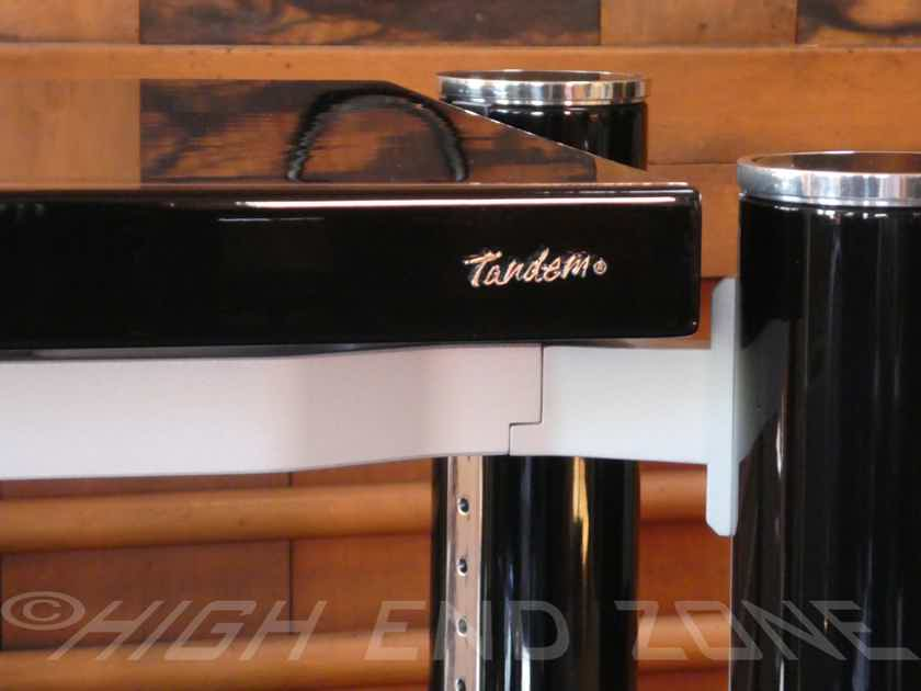Tandem Audio Statement D2 3 Shelf Audiophile Rack in Piano Gloss Black with Custom Flight Cases