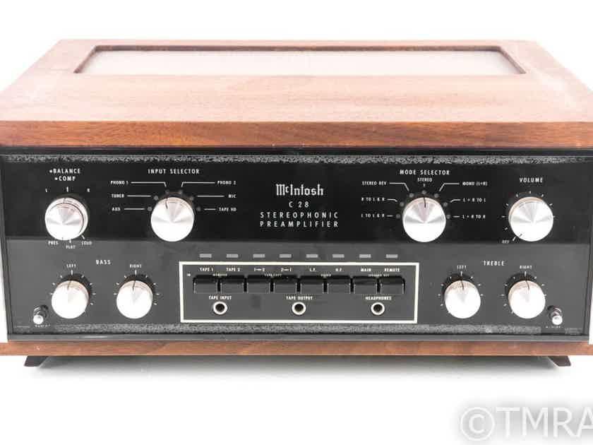 McIntosh C28 Vintage Stereo Preamplifier; C-28; Walnut Cabinet (21388)