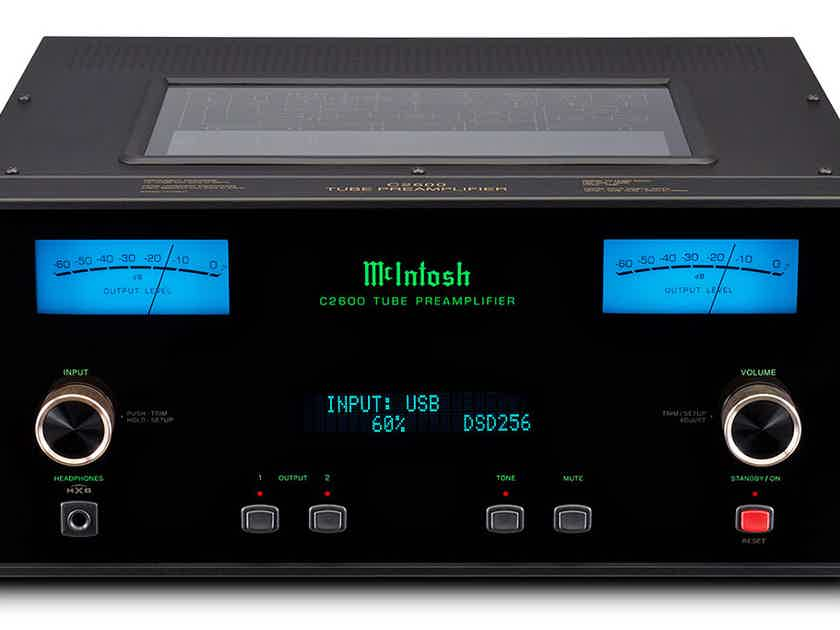 McIntosh C2600 Tube Preamp with MM/MC & 32-bit/384kHz, DSD digital-to-analog-converters with 5 digital inputs and a USB for music streaming