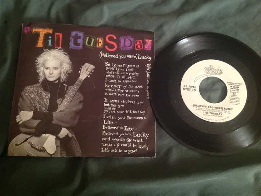 Til Tuesday  (Believed You Were) Lucky Columbia Records Promo 45 With Picture Sleeve