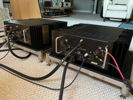 View of the Pass Labs Mono amps