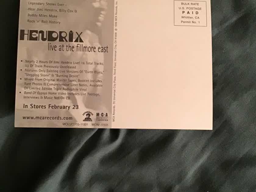 Jimi Hendrix  Live At Fillmore East Promo Postcard