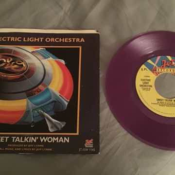 ELO Purple Vinyl 45 With Picture Sleeve Vinyl NM  Sweet Talkin' Woman/Fire On High