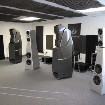 YG's own listening room where they face off with world-class $135,000 Wilson X2's.