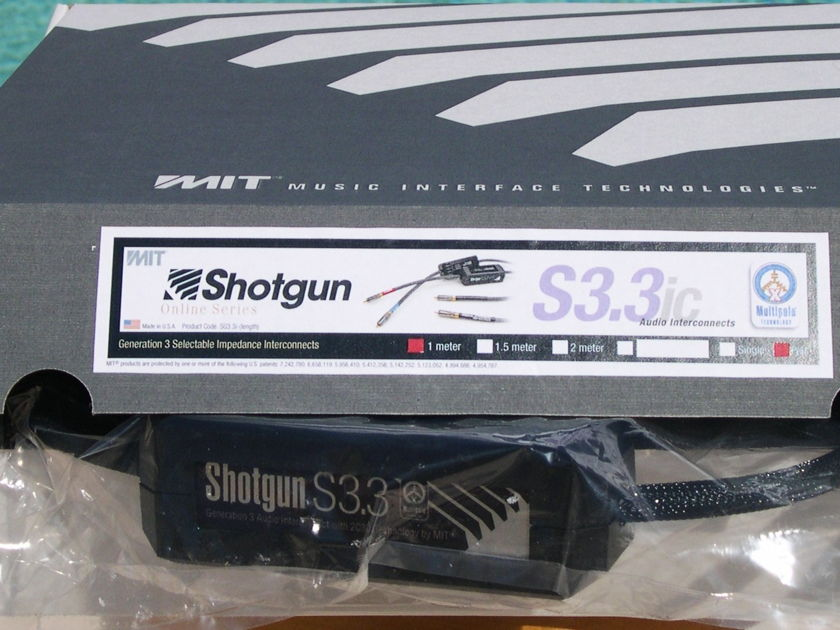 MIT Shotgun S3.3 rca 1M pair; 2C3D. New-in-Box.  CALL FOR BEST PRICE.  Lifetime Wrnty