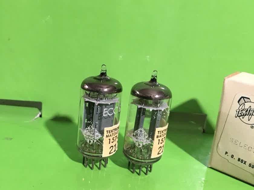 2 test new selected pair of tektronics telefunken rib plate 12au7 tubes